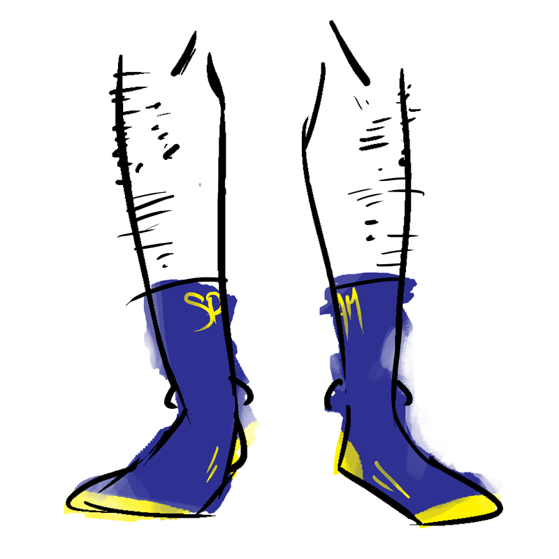 Blue socks with the Spam logo in yellow at the top. The toe is yellow.