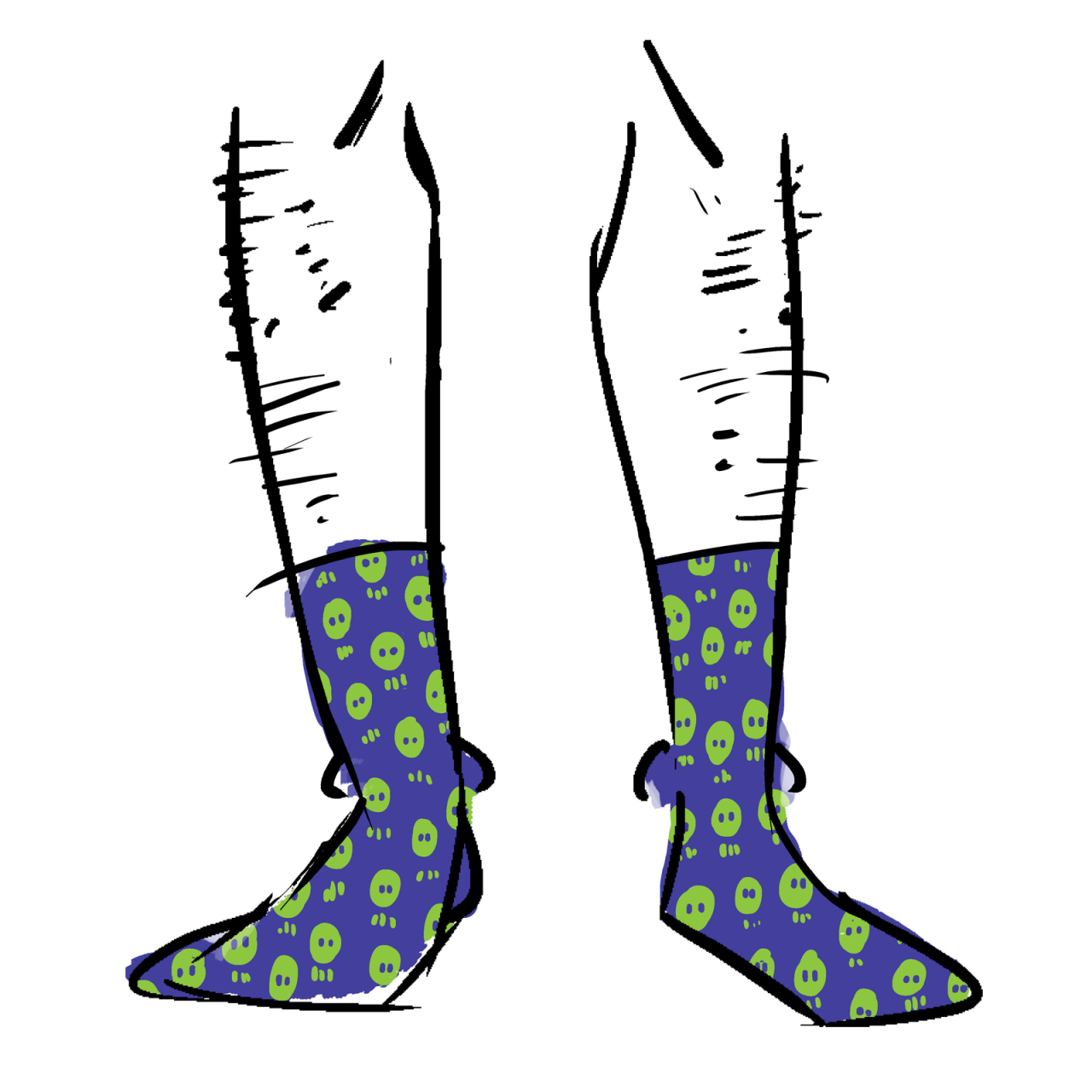 Blue socks with green skulls as a pattern