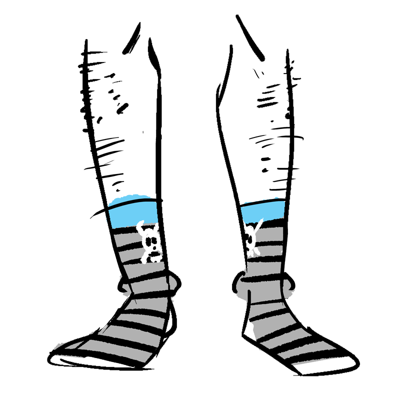 Striped socks with a skull and crossbones. There is a blue band at the top.