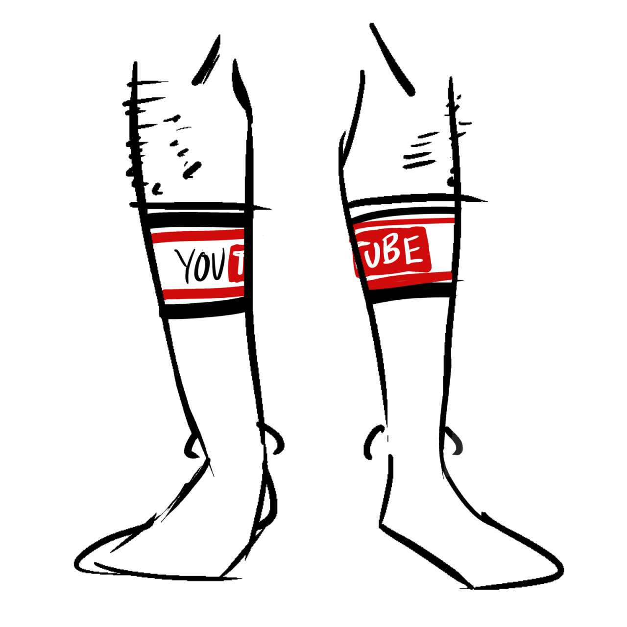 White tube socks with the YouTube logo at the top