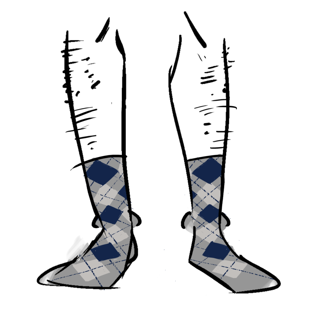 Grey socks with a blue and light grey argyle pattern