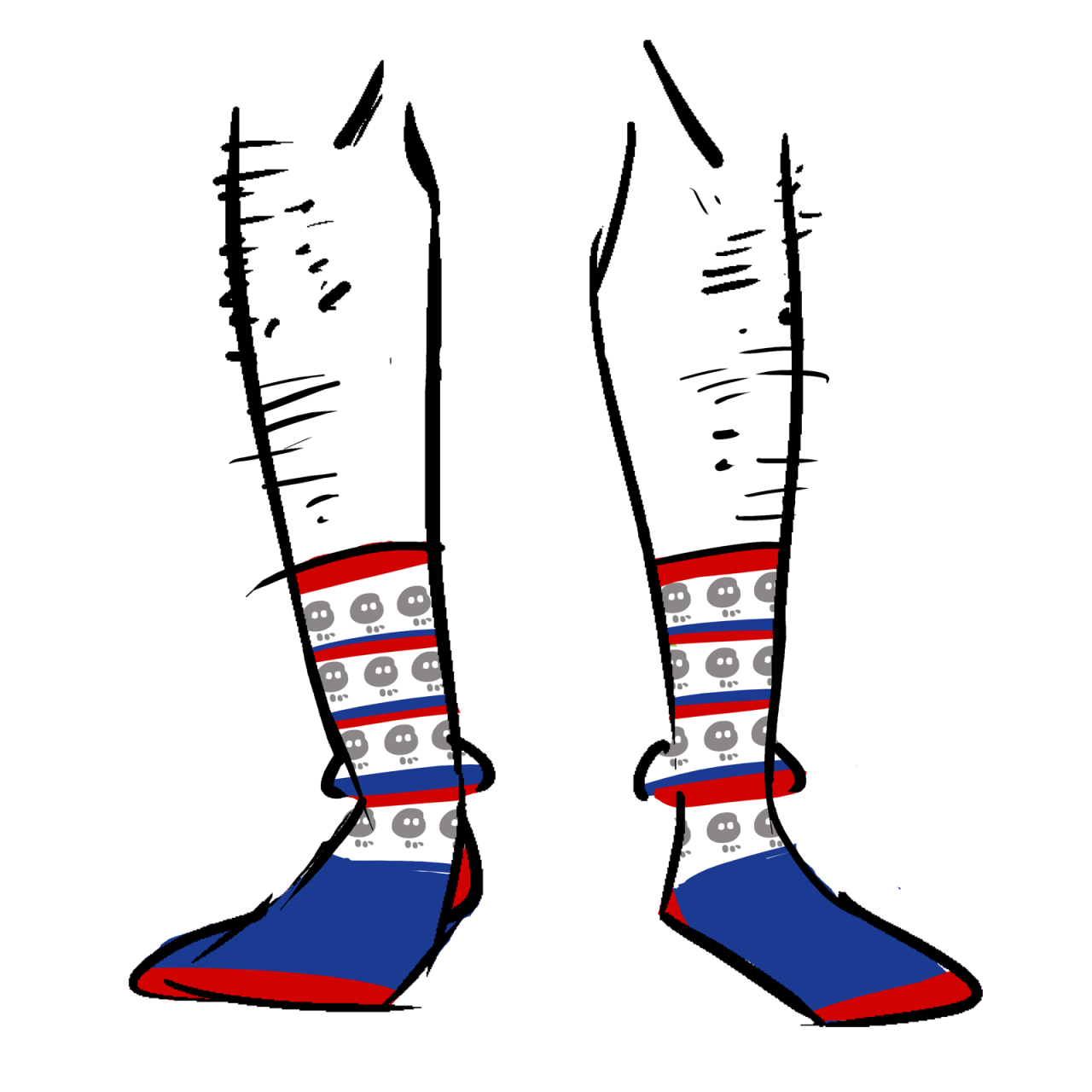 White socks with blue feet. The calves have an alternating row pattern of skulls and red stripes