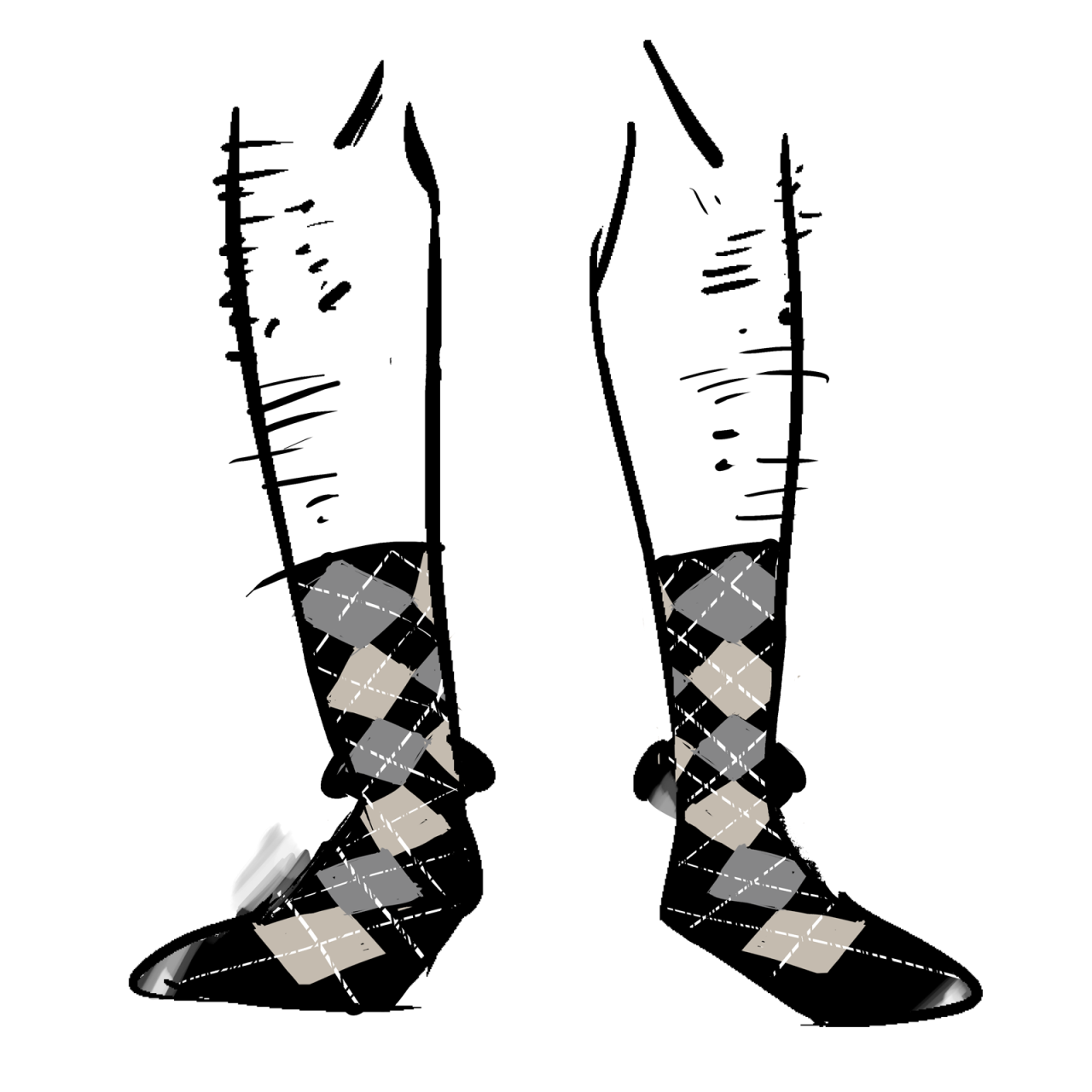 Black socks with a grey and beige argyle pattern