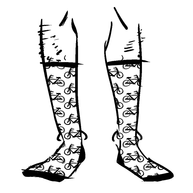 White socks with drawings of bicycles on them