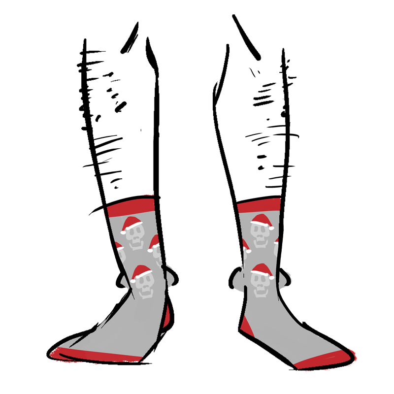 Grey socks with skulls wearing Santa hats as a pattern