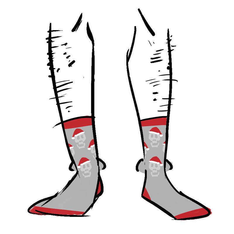Grey socks with skulls wearing Santa hats as a pattern