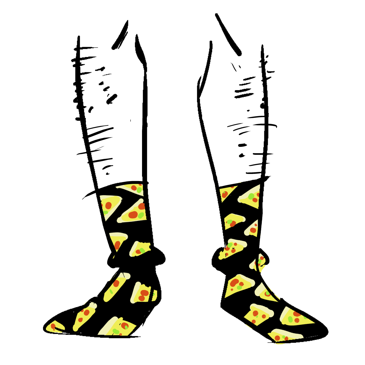 Black socks with slices of pepperoni pizza as a pattern