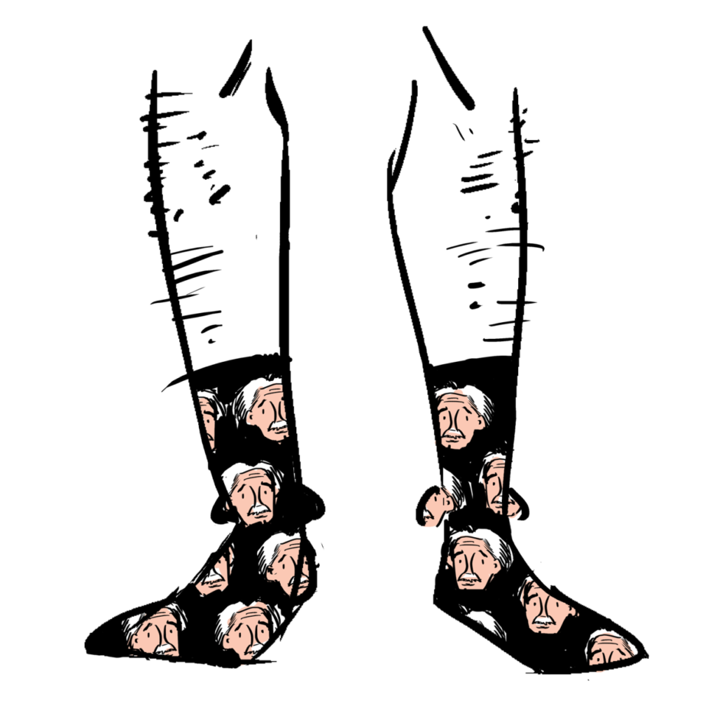Black socks with Einstein faces on them