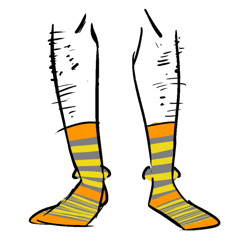 Grey socks with yellow stripes and orange bands