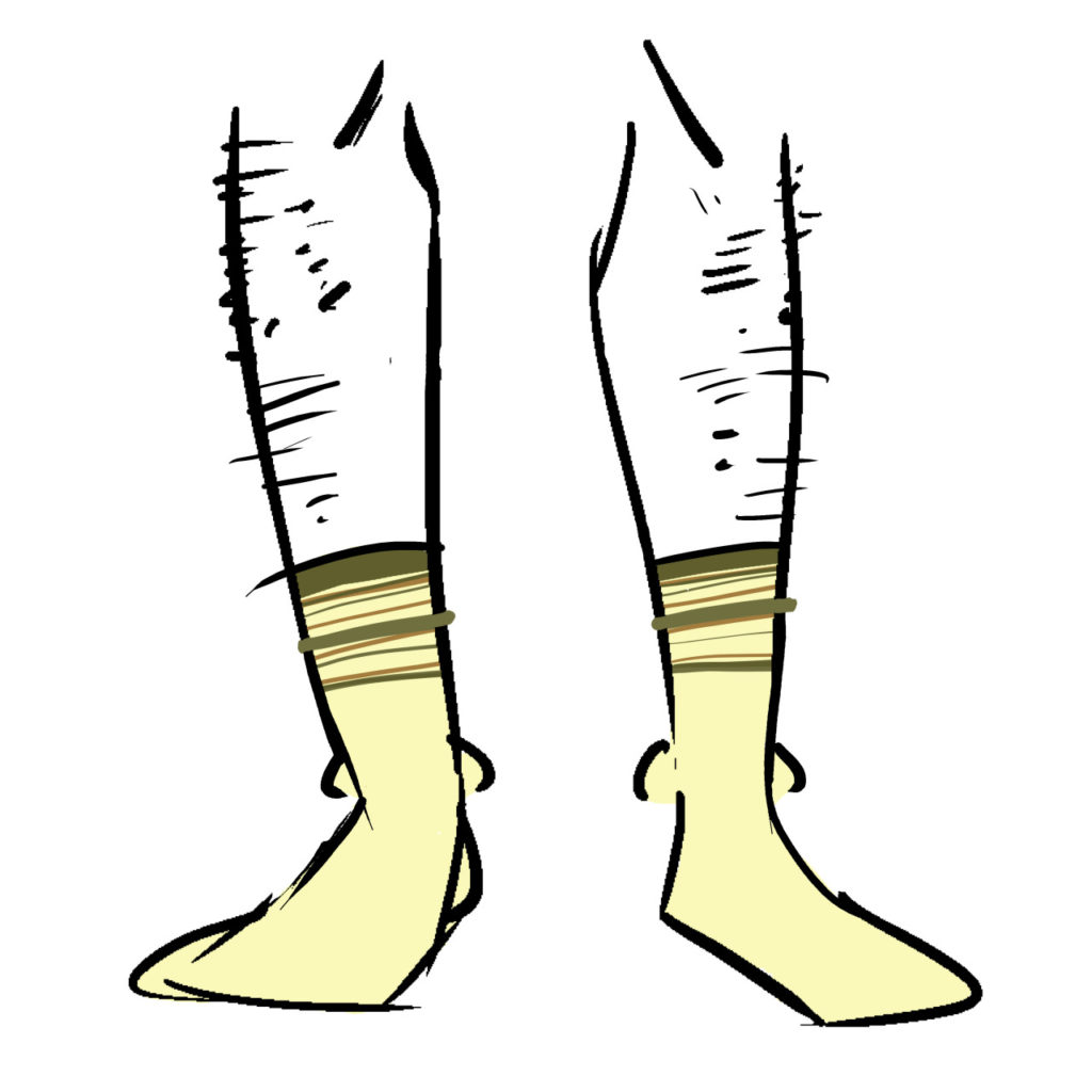 Yellow socks with brown and orange bands at the top.