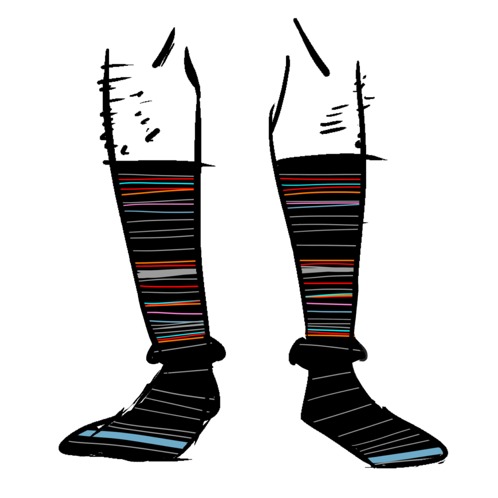 Black socks with thin stripes of red, purple, grey, and blue