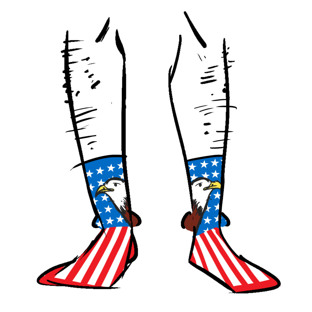 Socks with the USA flag and a bald eagle