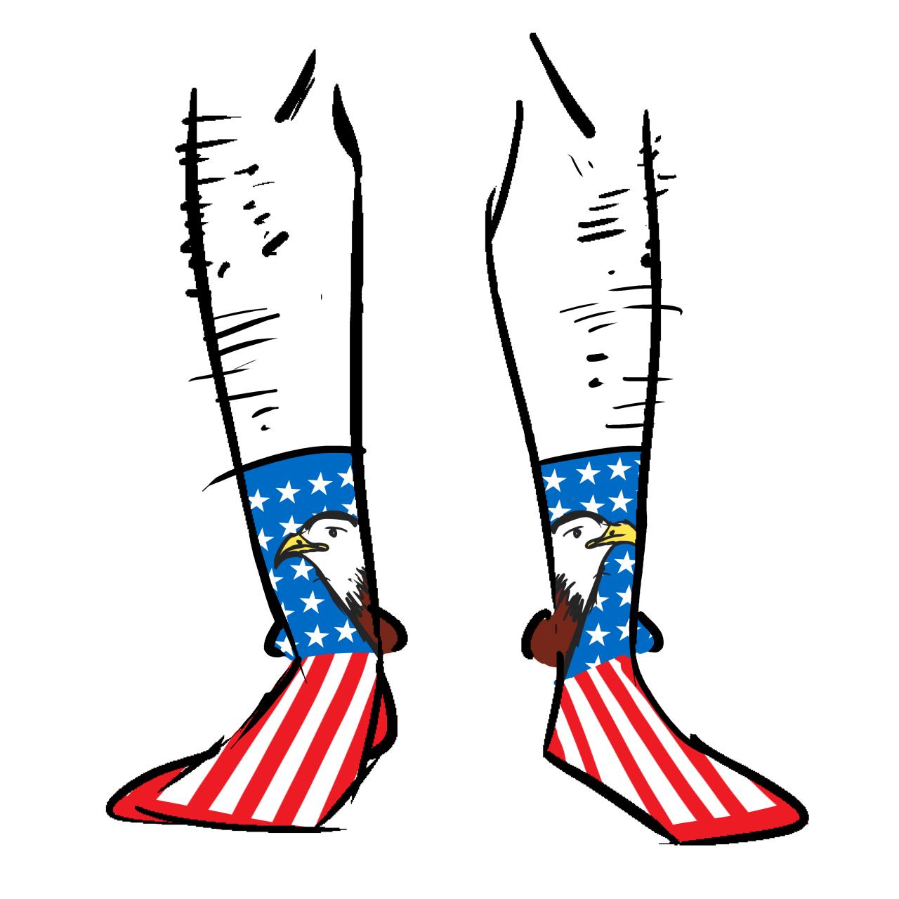 Socks with the USA flag and a bald eagle