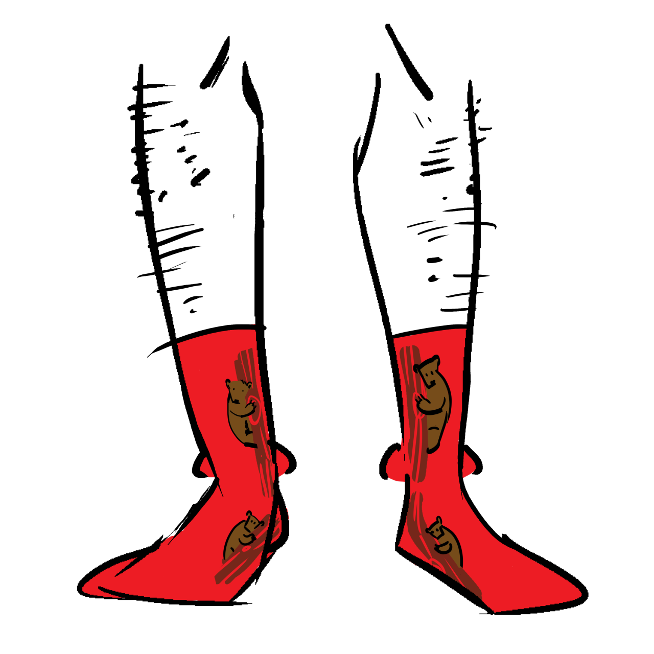 Red socks with bears in trees on them