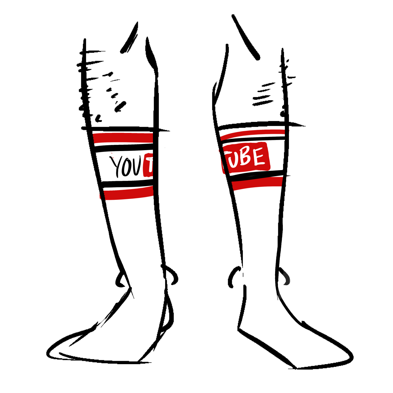 Tall white socks with the YouTube logo at the top.