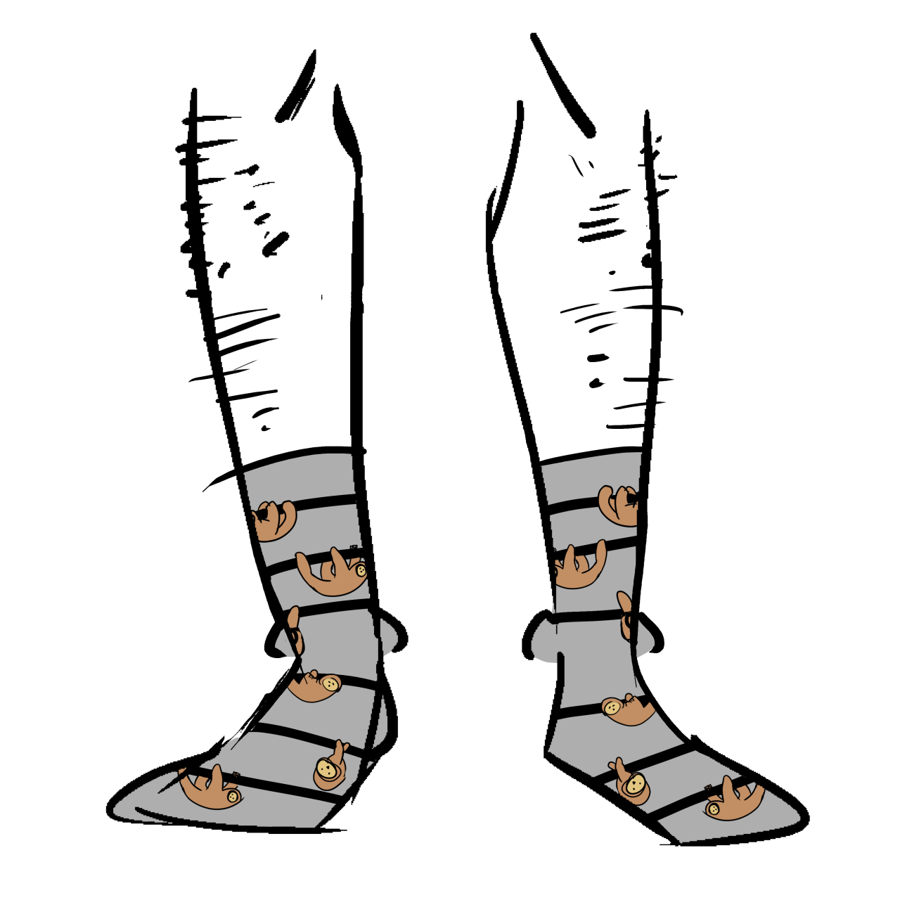 Grey socks with sloths hanging from black horizontal stripes