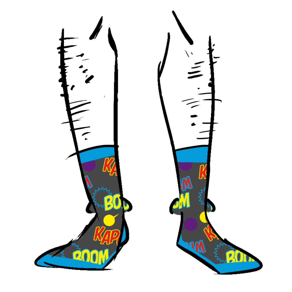 Grey socks with sound effects on them.
