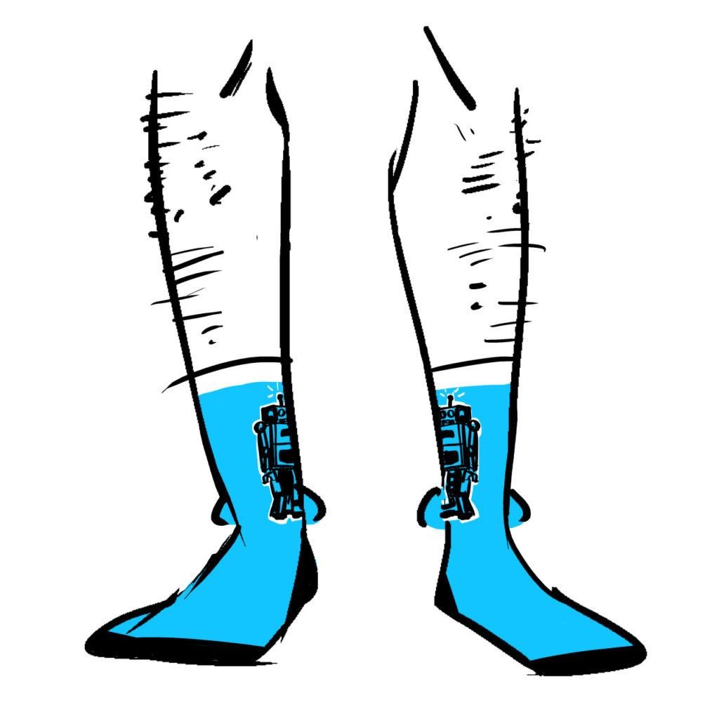 Blue socks with black outlines of wind-up robots on them,