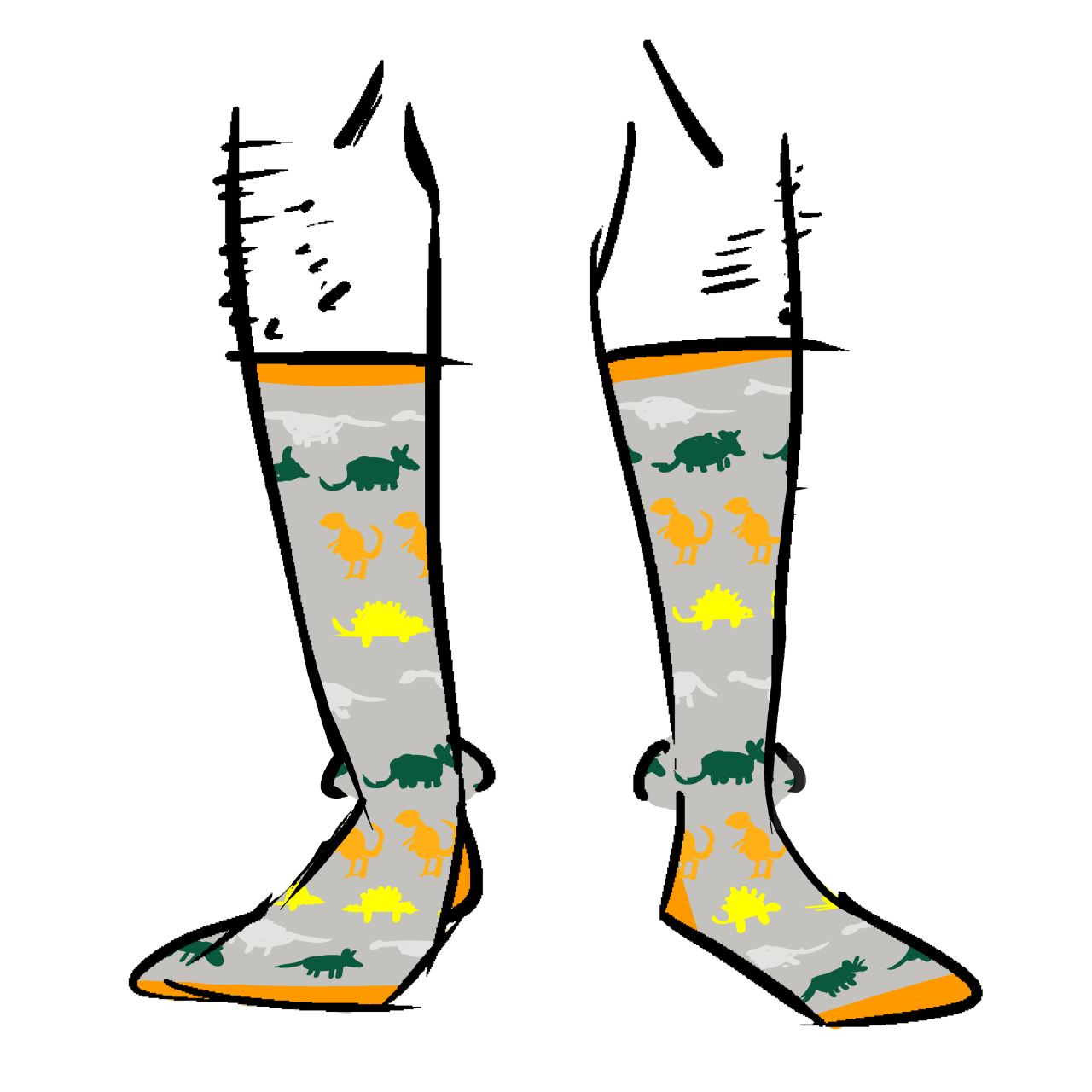 Grey socks with silhouettes of dinosaurs on them. Dinosaurs are green, white, orange, and yellow.
