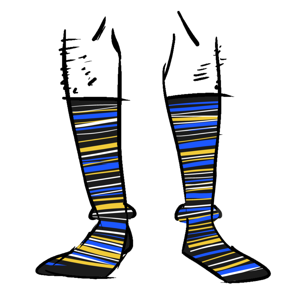 Black socks with blue, yellow, and white stripes