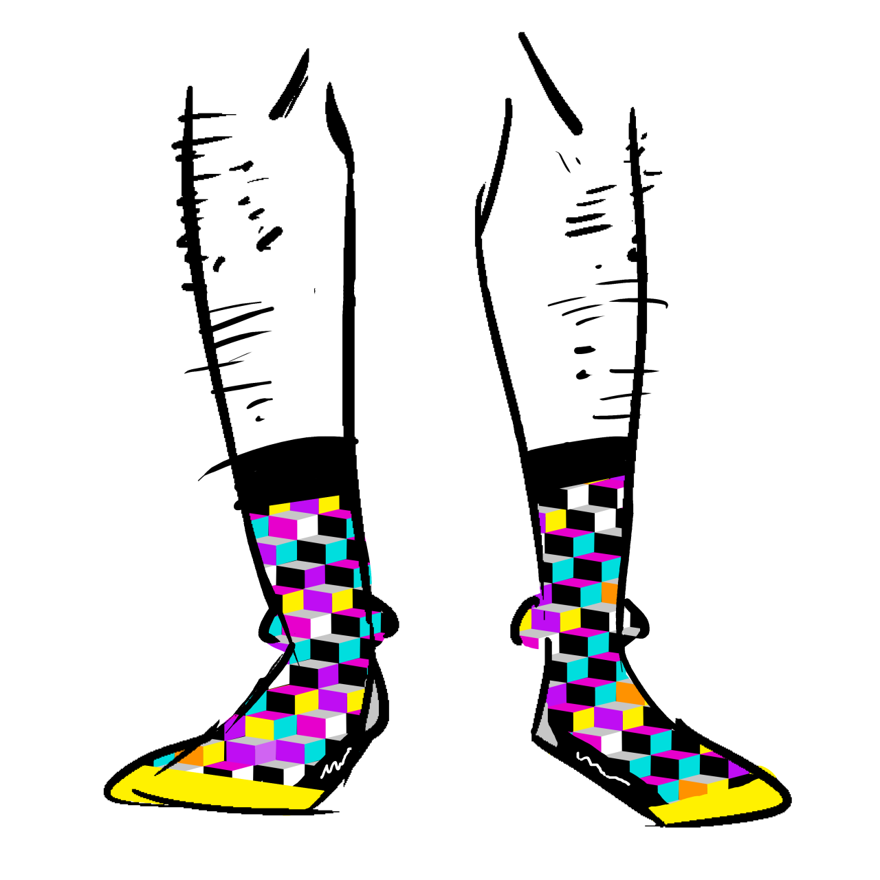 Black socks with a yellow toe. The pattern is brightly colored cubes.