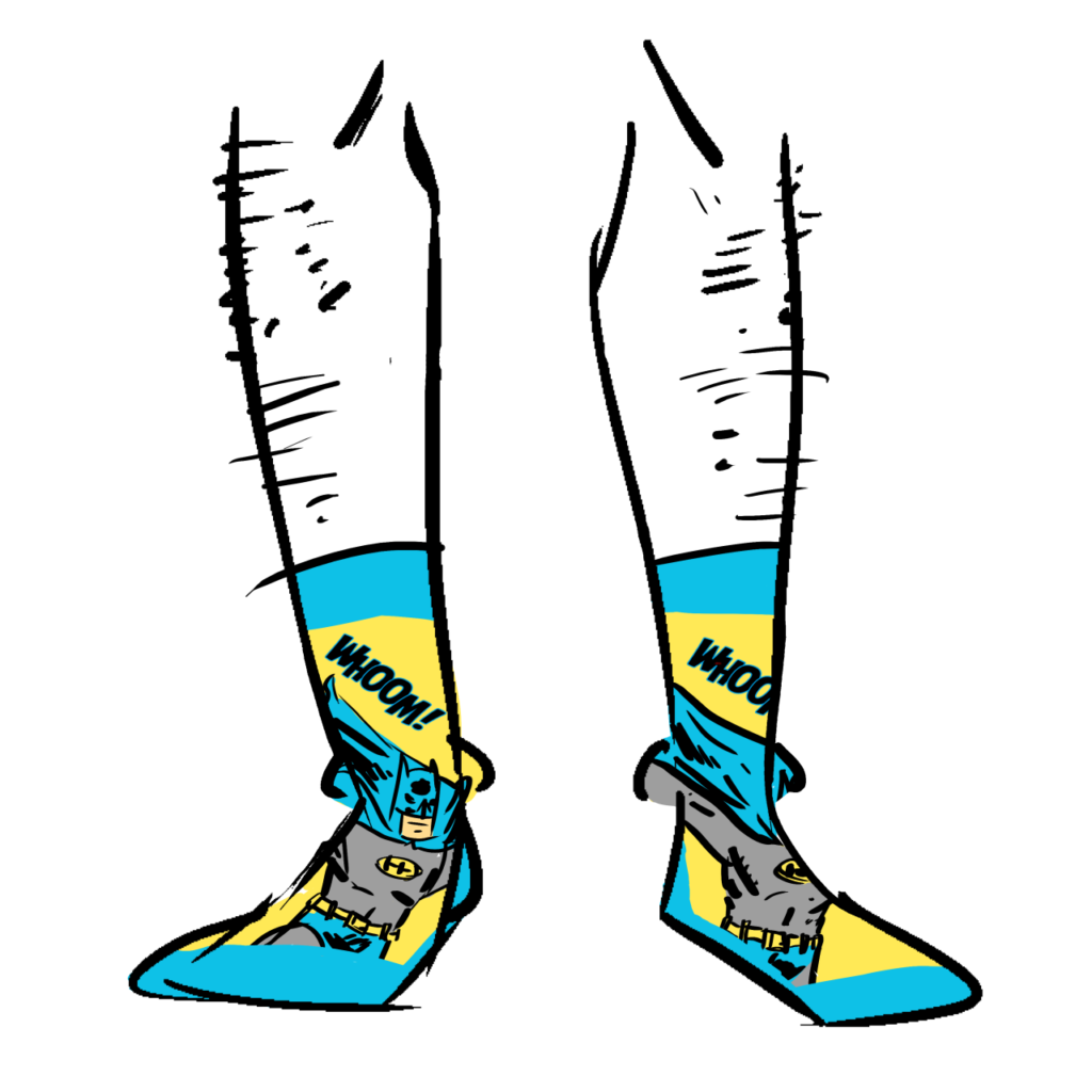 "Blue and yellow socks showing Batman and the sound effect ""Badoom!"""