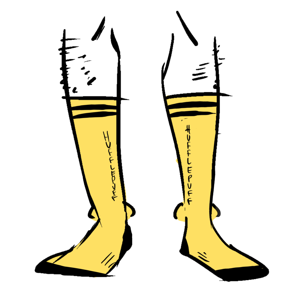 Yellow socks that say Hufflepuff down the length of them.