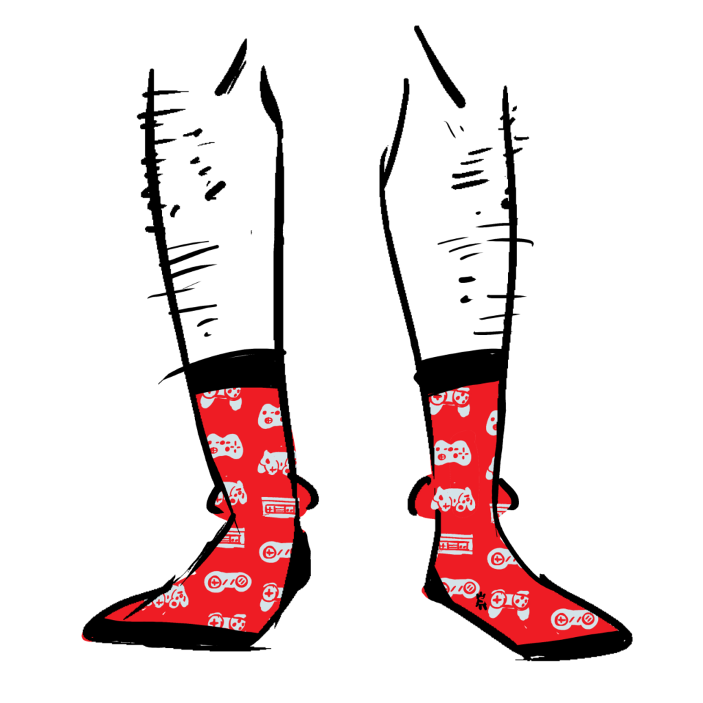 Red socks with a pattern of grey game controllers on them.