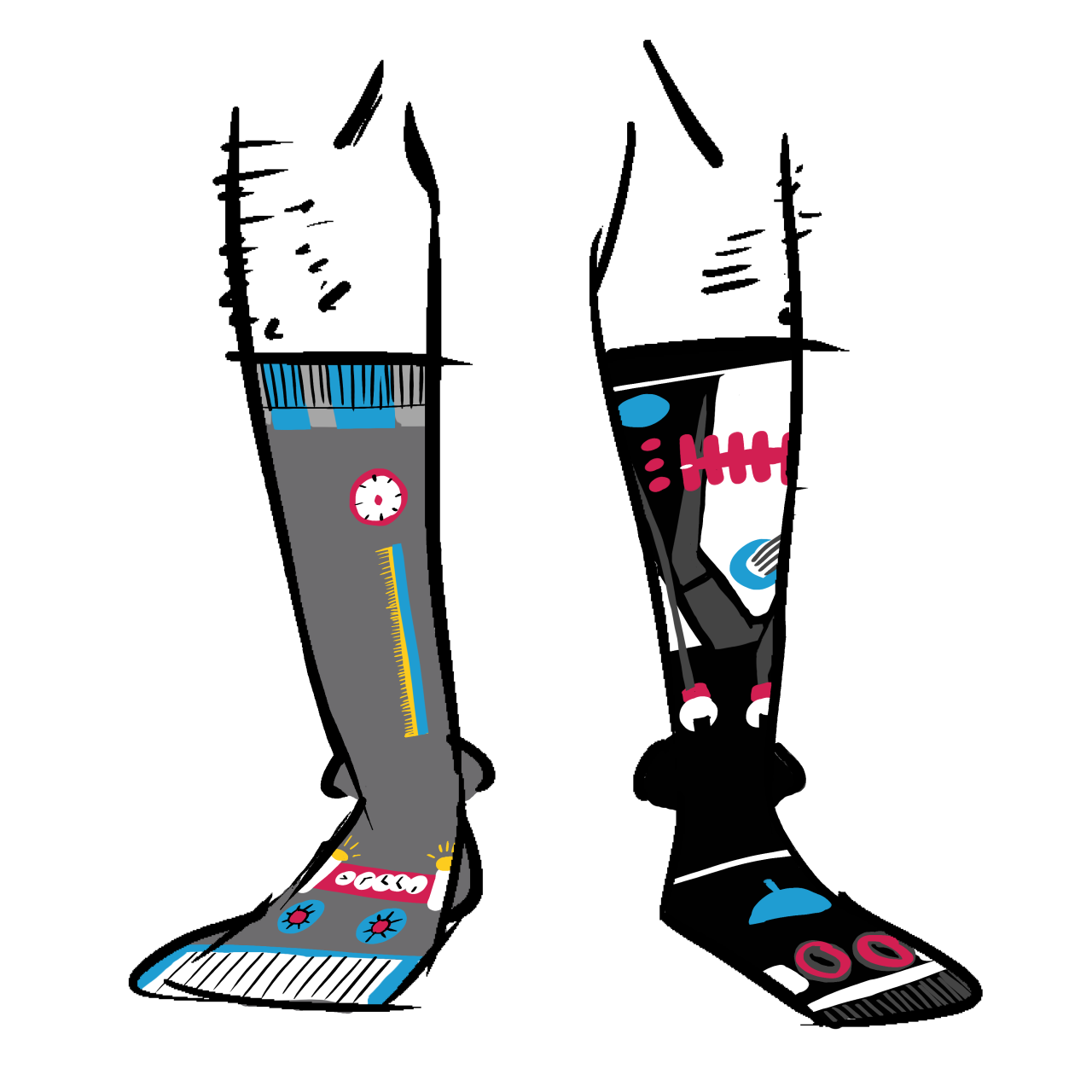 Calf-high socks that have two robots, one grey, one black