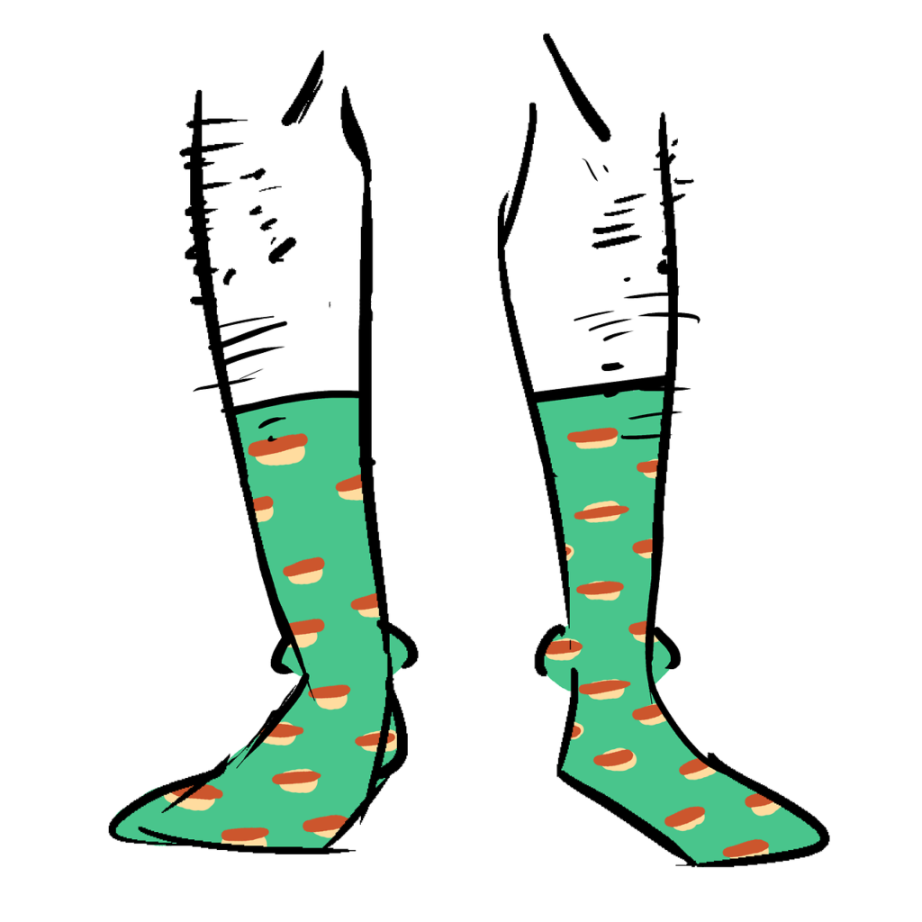 Green socks with a pattern of hot dogs on them