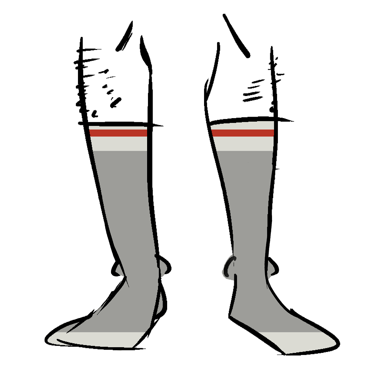 Grey socks with red stripes around the calves