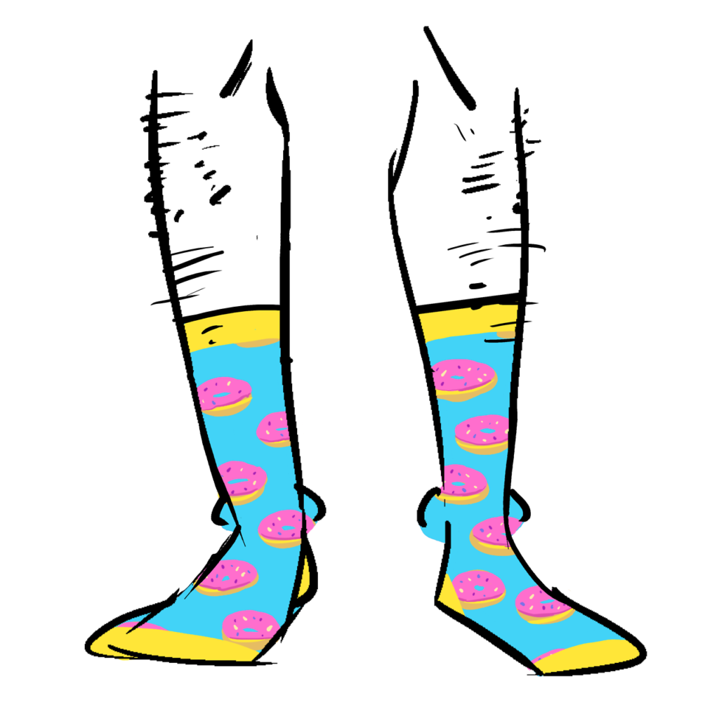 Blue and yellow socks with a pattern of pink frosted donuts