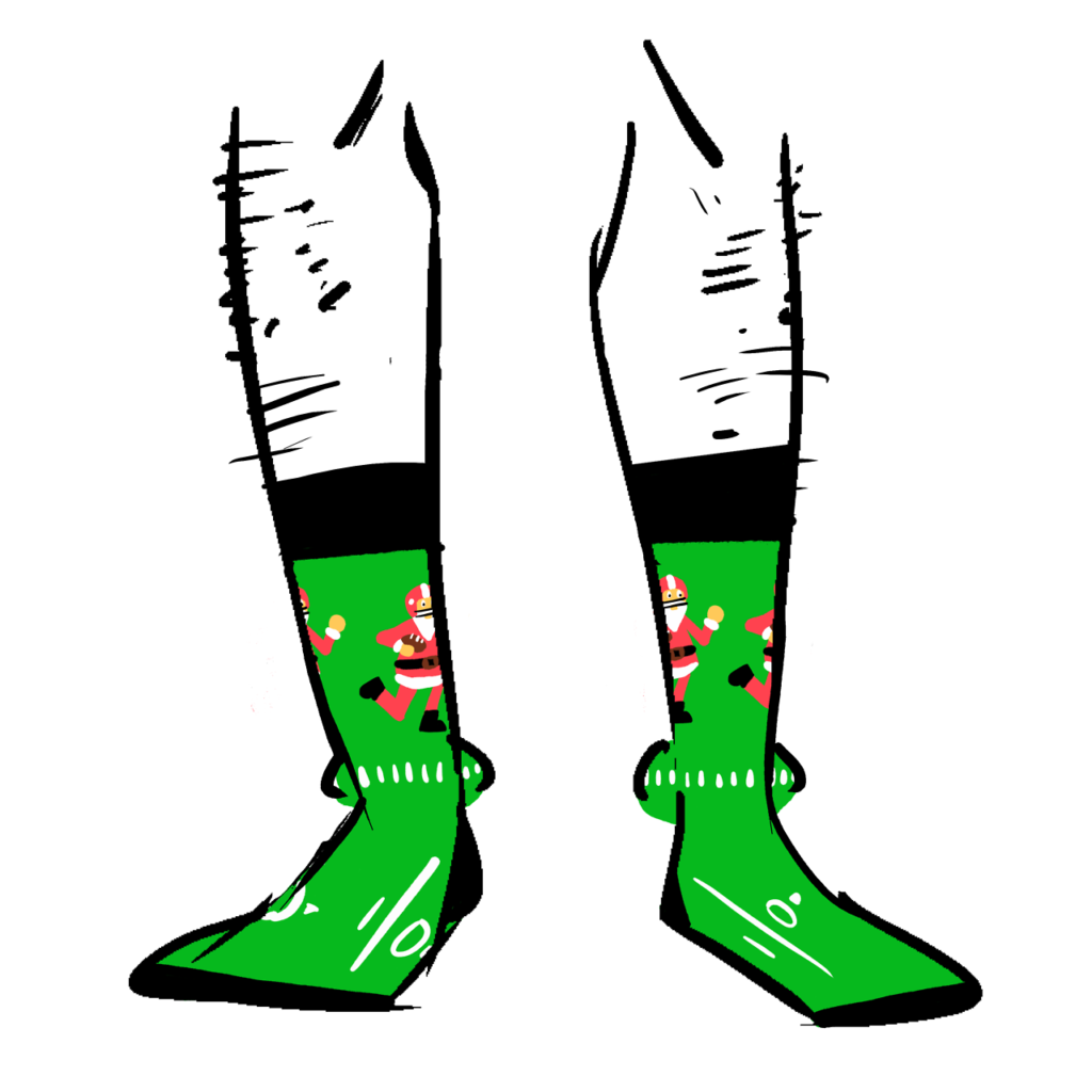 Socks showing Santa Claus playing football
