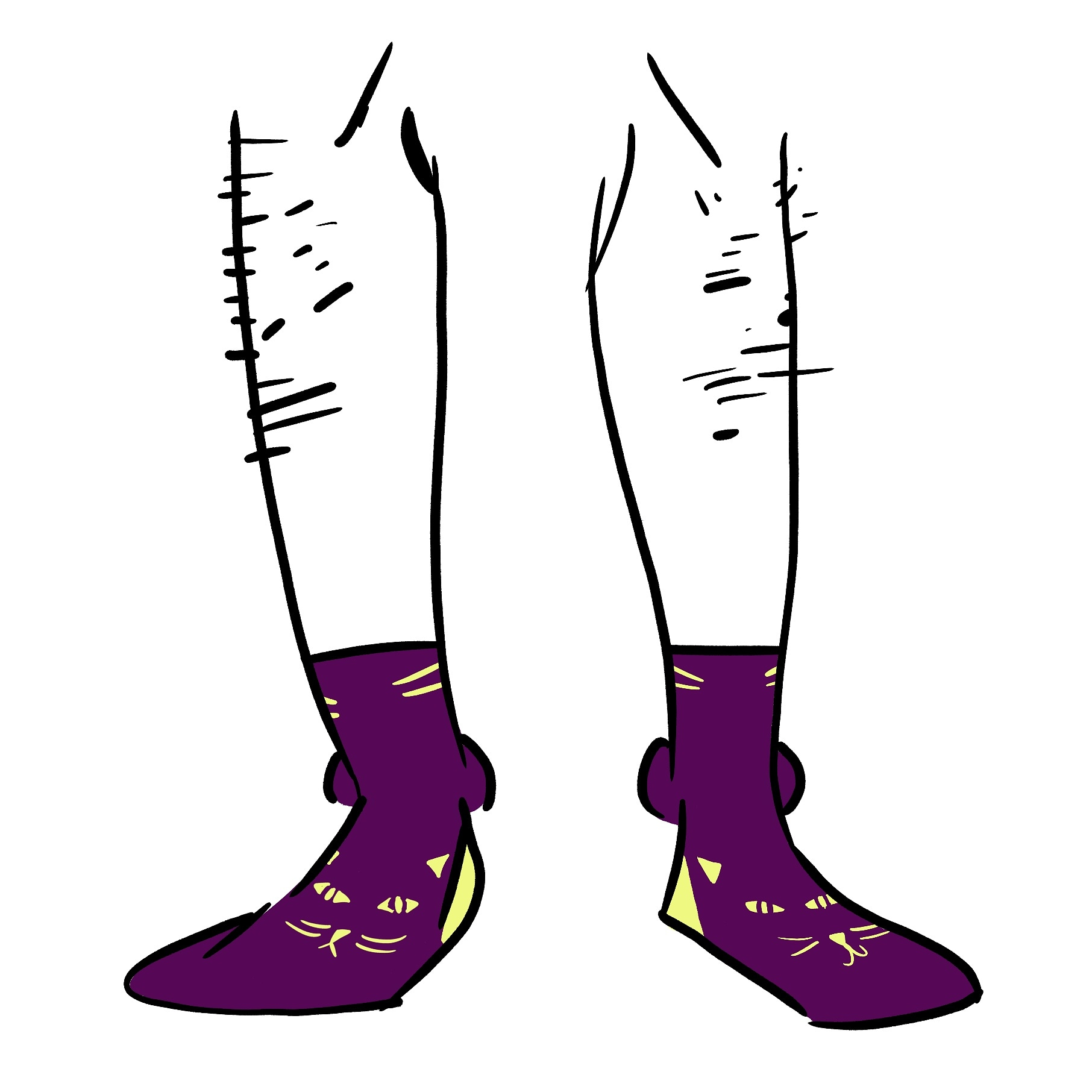 Purple socks with yellow cat eyes and yellow cat whiskers.