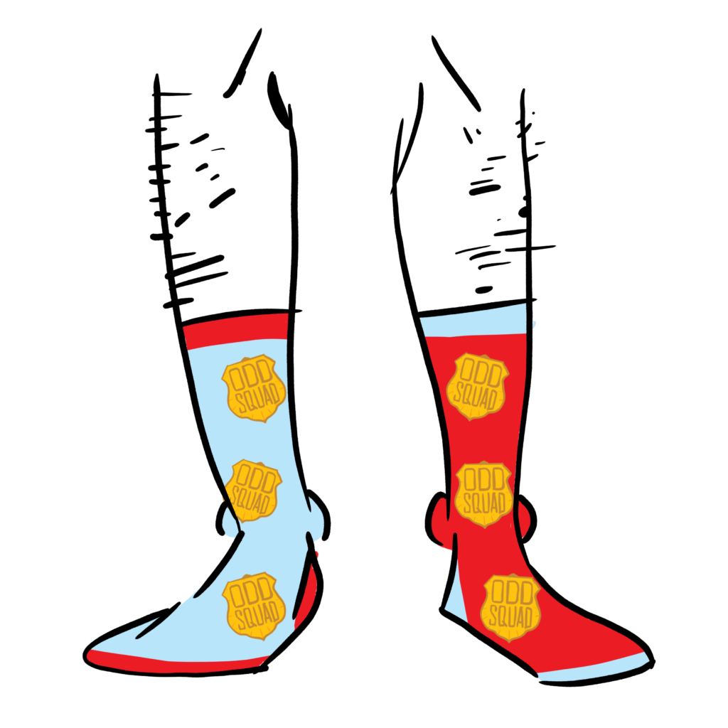 Left sock is red, the right sock is light blue. Both socks have the Odd Squad logo as a pattern.