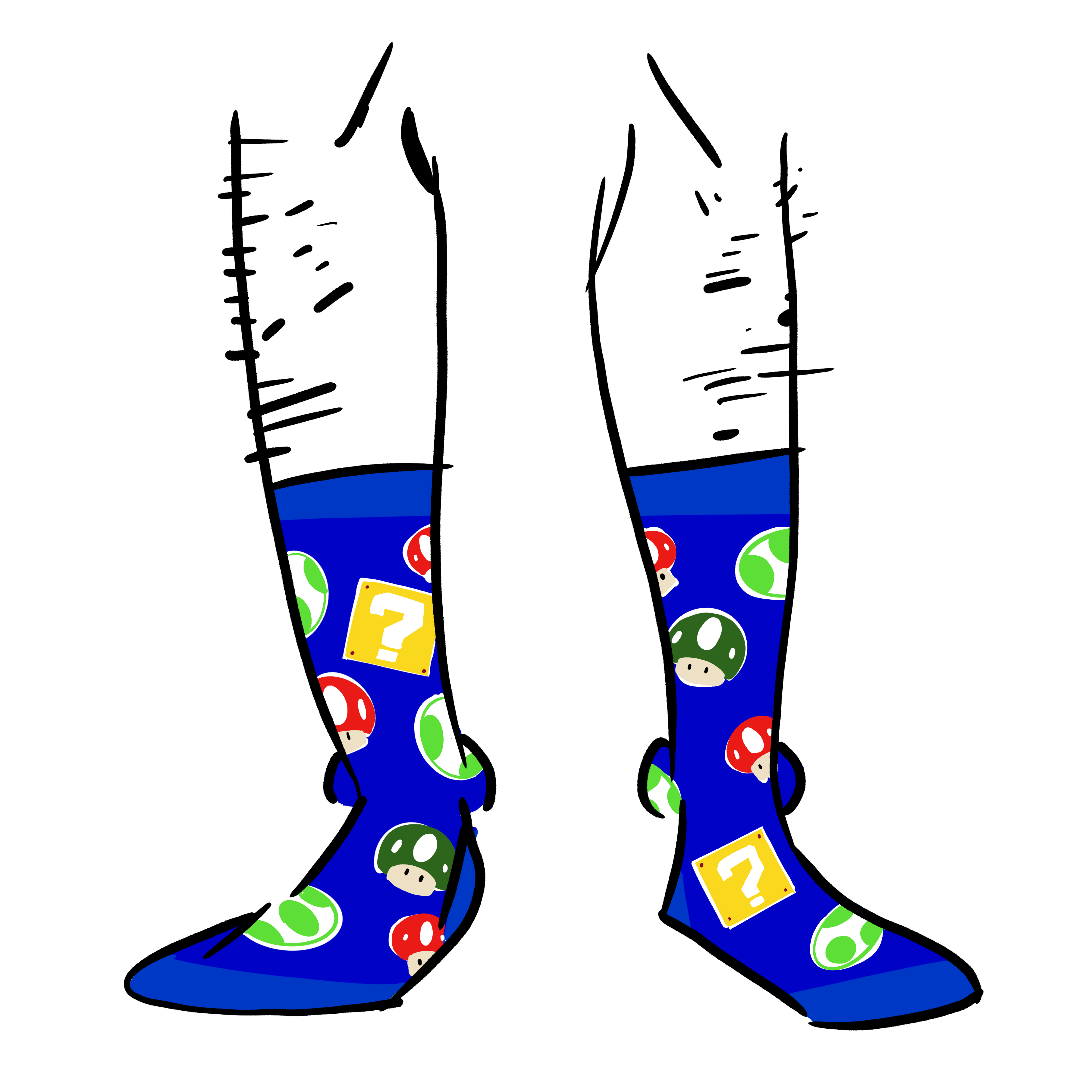Blue socks with Super Mario Bros elements on them. A Question Mark box, a 1up mushroom, a growing mushroom, and a koopa.