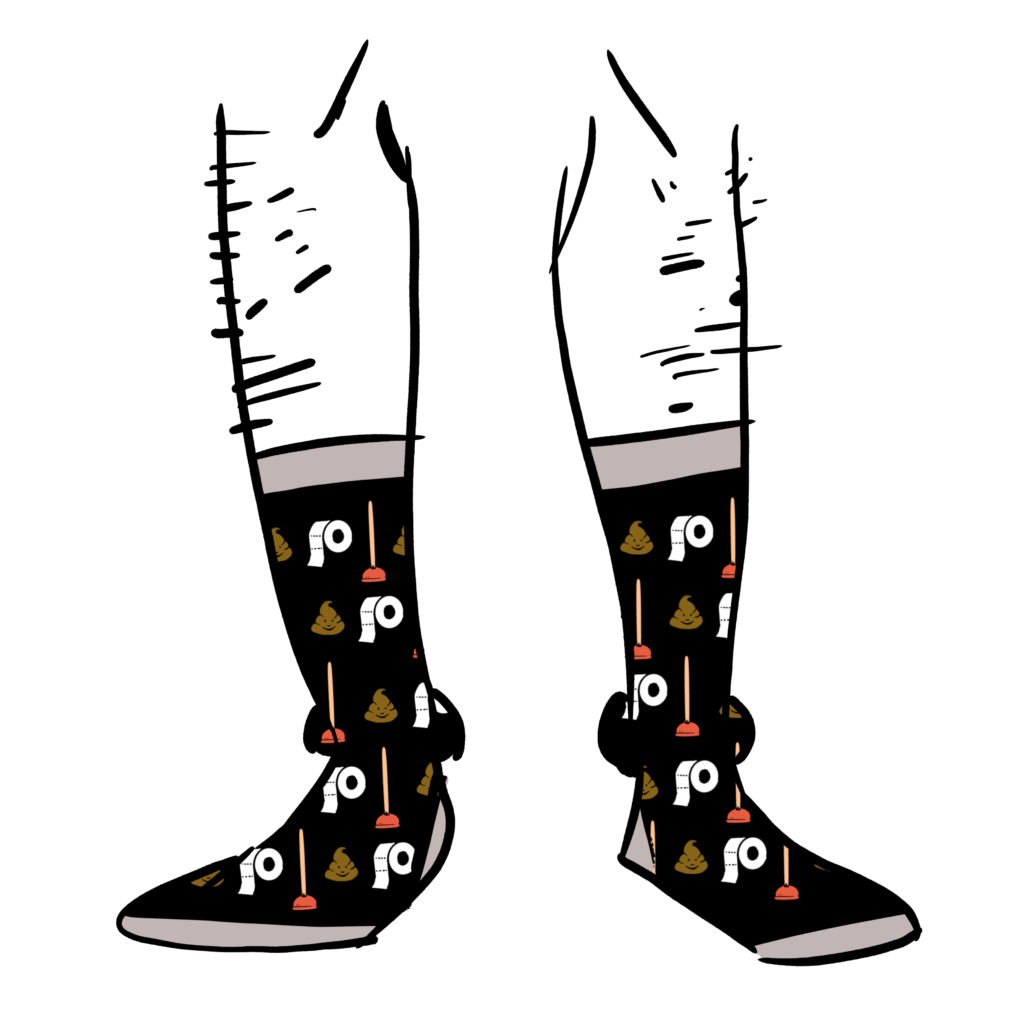 Black socks with a pattern made up of a plunger, toilet paper, and the poop emoji on them.