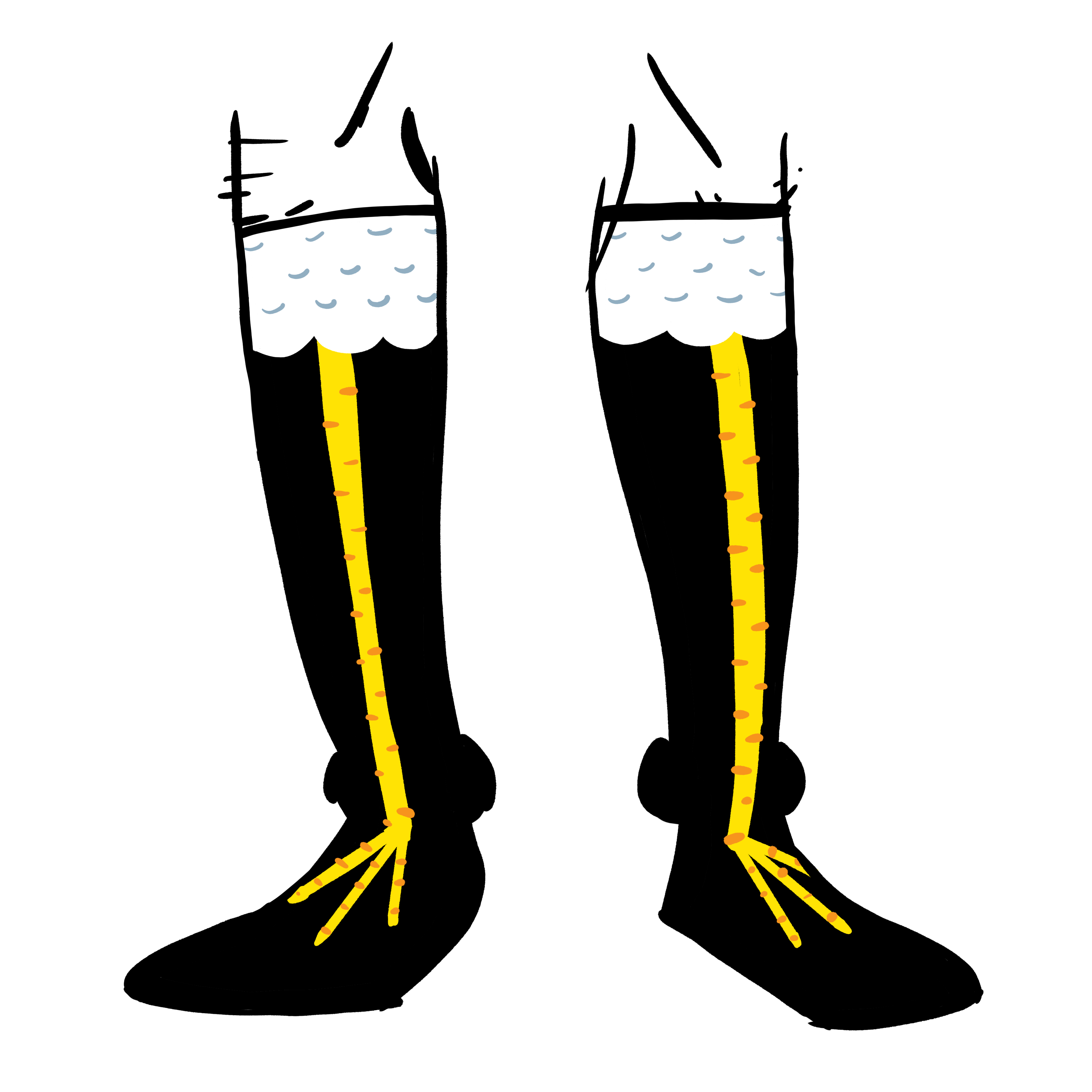 Black knee high socks. The tops have white feathers and the yellow chicken legs go down the shins.