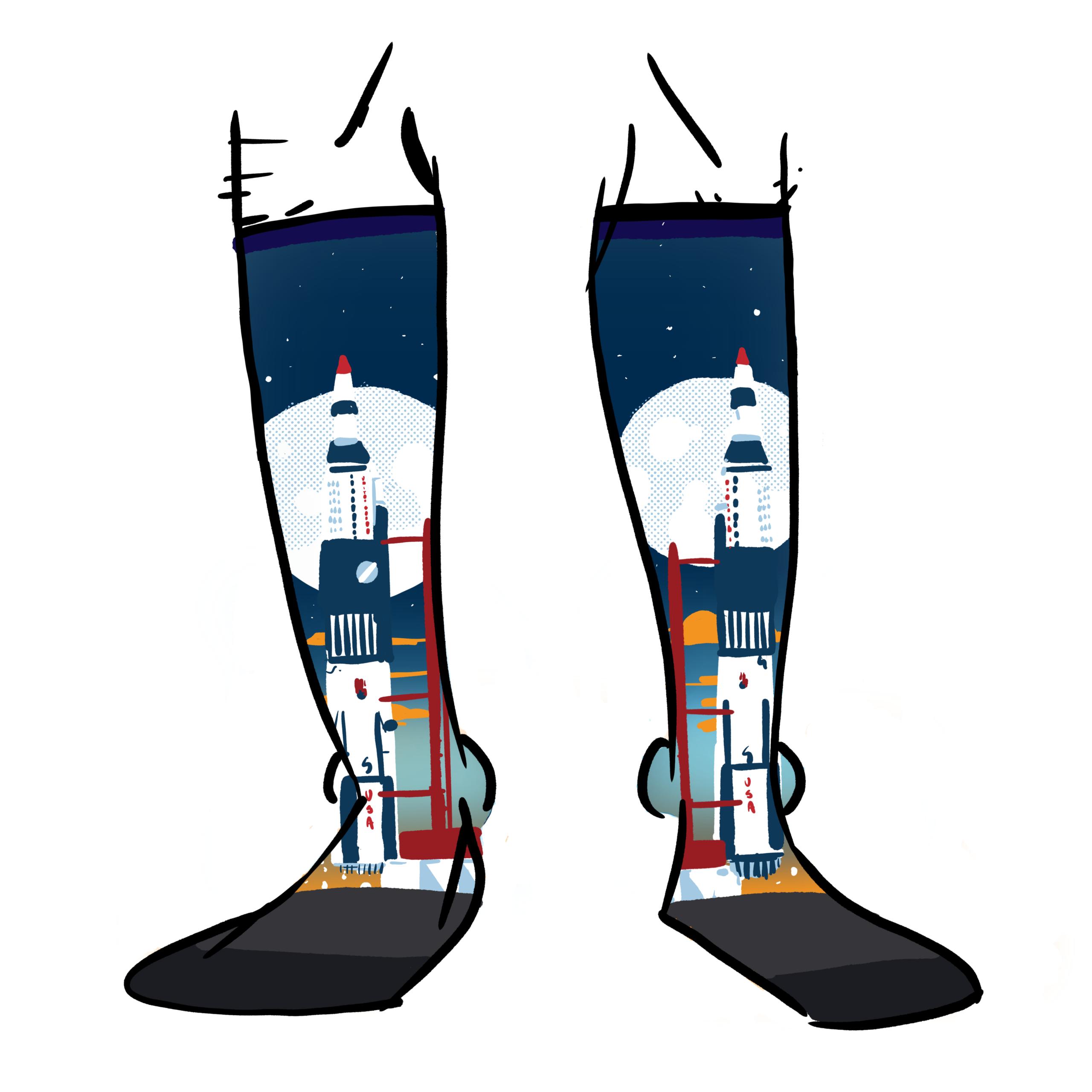 The Saturn 5 rocket printed on socks